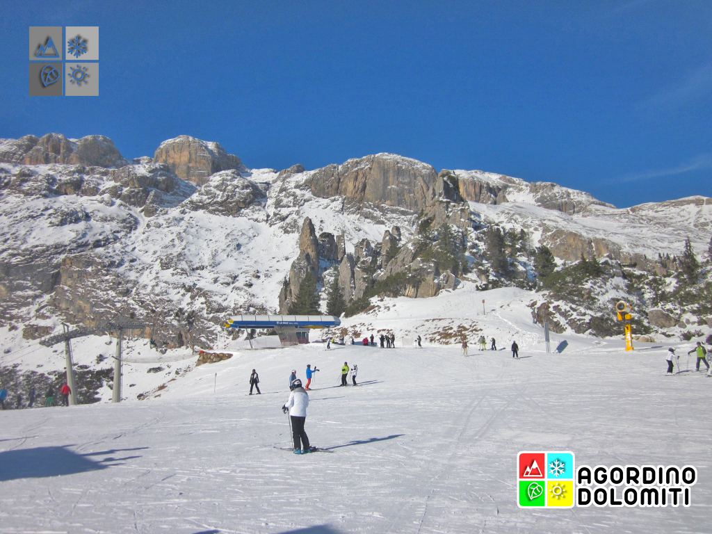 Sella e Bec de Roces dalle piste di Arabba